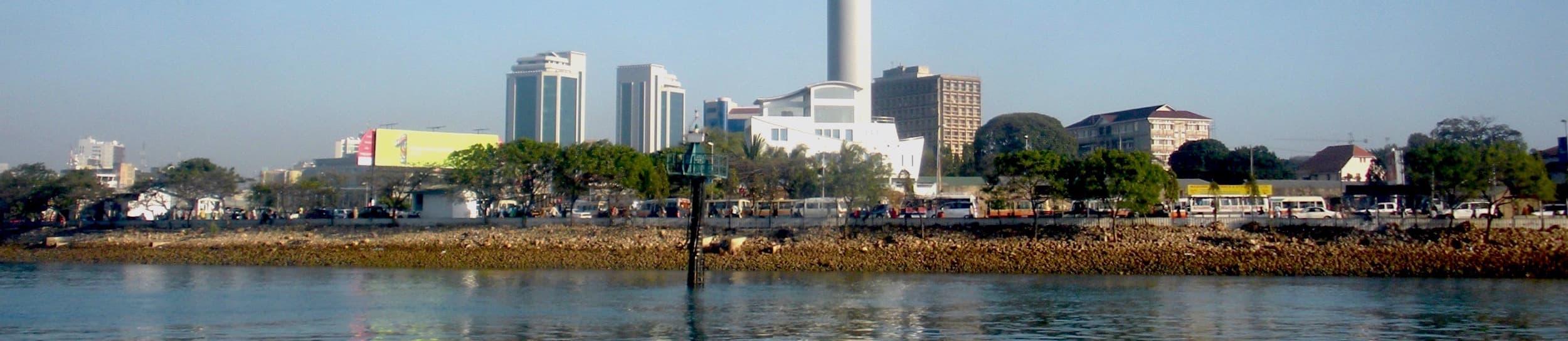 Pictured: skyline of Dar es Salaam